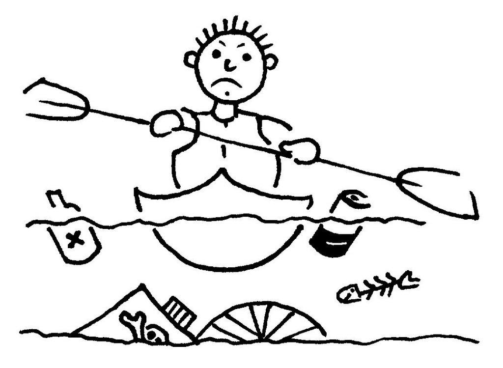 Zeichnung Paddler mit Müll im Wasser