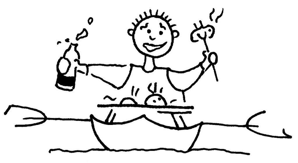 Zeichnung Säufer im Kanu