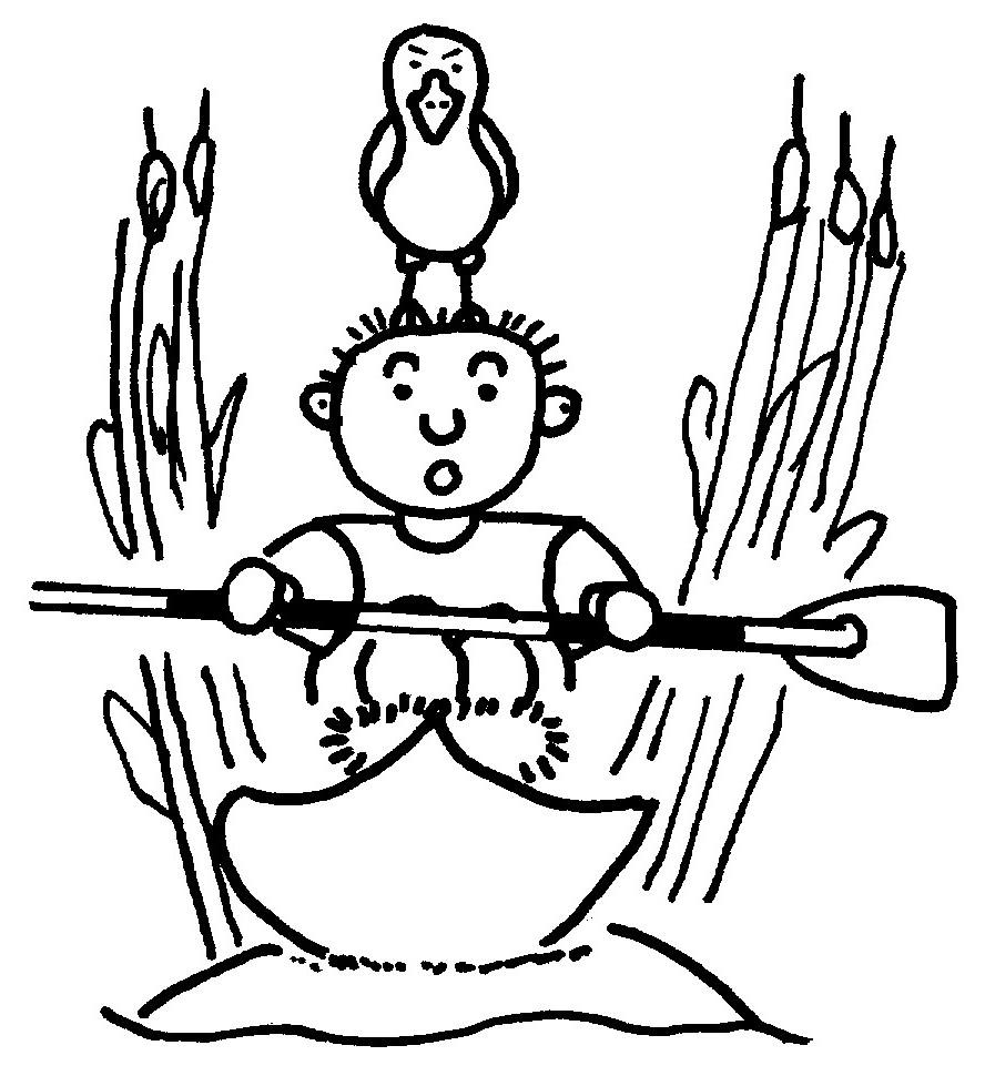 Paddler mit Vogel auf Kopf